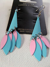 FUNKY BRIGHT SUMMER  BLUE & PINK DROP DANGLE EARRINGS 6.5CM new gift pouch