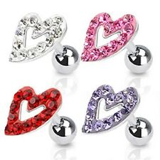 New Surgical Steel Multi Paved Heart Tragus Bar Helix Cartilage Piercing (P3)