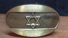 Vintage 1981 Star Of David Belt Buckle Handmade Israel Solid Brass