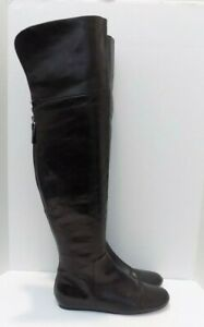 Vera Wang Lavender Above Knee Boots Rear Zip Flats Black Leather Size 7.5M