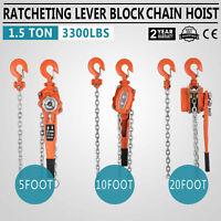 Lever Block Chain Hoist Ratchet Type Come Along Puller 5'~20' Chain Lifter 1.5T