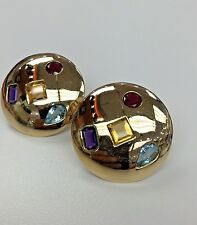 ESTATE MULTI COLOR STONE EARRING 14K YELLOW GOLD