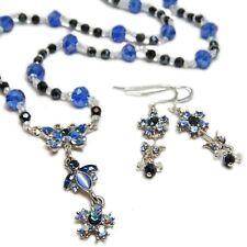 Reclaimed Treasures-Blue Rhinestone & Glass Bead Necklace & Earrings By SoniaMcD