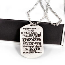 Men TO MY SON Daughter Military Army Dog Tag Stainless Steel Pendant Necklaces