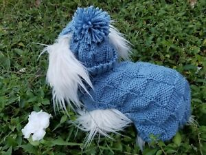 S handmade knit Country Blue  dog sweater & hat set