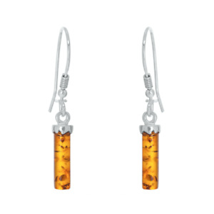 925 Sterling Silver Genuine Baltic Amber Drop Dangle Earrings Free Gift Bag