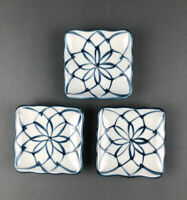 Vtg Mann Small Hand Painted Plates Set of 3 Japan 1977 Blue White Orig Stickers