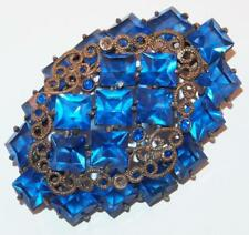 ANTIQUE COBALT BLUE SQUARE RHINESTONES ROSE GOLDTONE CANNETILLE DECOR BROOCH PIN