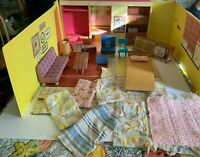 Vintage 1962 Mattel Cardboard Barbie Dream House With Furniture and Accessories