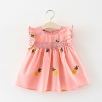 Baby Girl Pineapple Dress Newborn Clothes Kids Cotton Toddler Sleeveless Outfits