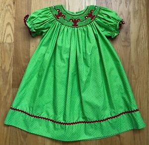 New Smocktions Smocked Holiday Lobster Green Polkadot Dress Size 24 Months