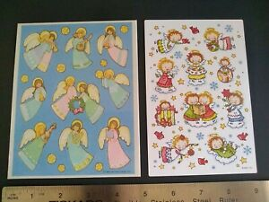 Vintage Stickers ANGELS HALLMARK AGC Sticker Sheets Lot of 2 VTG 80s 90s