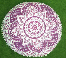 Indian Purple Ombre Mandala Floor Pillow Round Cushion Covers Bohemian Decor 32""