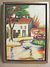 Original 10x14 VICKY SMITH Painting of Cottage by Pond  w/ Row Boat