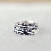 1 Pc Vintage Feather Arrow Opening Rings For Women And Men Silver SP