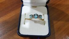 BLUE TOPAZ & DIAMOND YELLOW 9K GOLD RING  - Used VGC