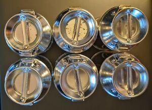 VINTAGE JAPAN ALUMINUM SPICE 6 JARS 6 LIDS BUTTER CHURN