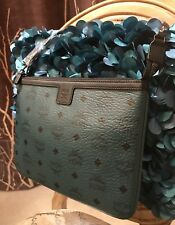 Authentic MCM Luggage Lagoon Blue/Black Leather Pouch Clutch Bag Wallet NEW Rare
