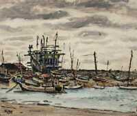 Unique oil on canvas Painting of  Fishing Village Signed Hideo 1949