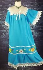 Gorgeous VINTAGE Mexican Embroidered CROCHET Handmade Boho Fiesta Dress