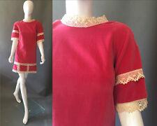 60's Vintage HOT PINK Velvet Lolita Mini Mod Dress S
