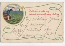 I Will Dive Into My Subject 1903 U/B Greetings Postcard 592a