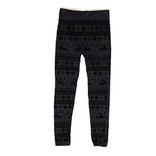 SHOSHO Christmas Reindeer Nordic Snowflake Black Velvet Design Legging Pants S