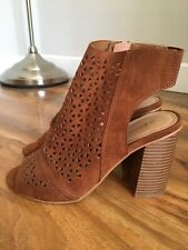 PAPAYA BROWN CUT OUT WEDGED HIGH HEEL OPEN TOE ANKLE BOOTS UK 4 / EUR 37 VGC
