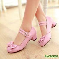 Womens Sweet Round Toe Bowknot Block LOW Heel Mary Janes Lolita Shoes ALL UK SZ