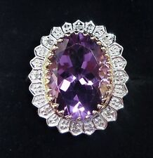 Large 9ct Gold 7.00ct Amethyst & Diamond Cocktail Ring, Size Q, Diana Style