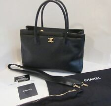 CHANEL Black Caviar Leather Cerf Executive Shopper Tote Handbag Purse Gold Auth