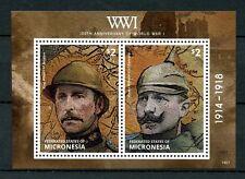 Micronesia 2014 MNH WWI WW1 100th Anniv World War I 2v S/S Kaiser Wilhelm Stamps