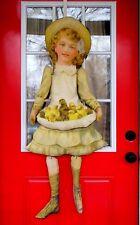 Victorian antique primitive Easter Girl apron spring chicks chicken door doll