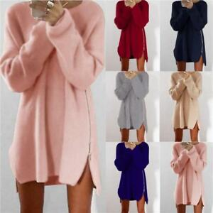 Womens O Neck Long Sleeve Knit Cardigan Jumper Top Loose Casual Sweater Dress CS