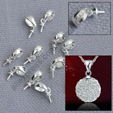 Jewelry Findings 100Pcs 925 Sterling Silver Cup Cap Bail Connector For Pendant