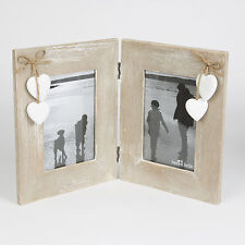 "ASHLEY FARMHOUSE DOUBLE STANDING RECTANGLE PHOTO FRAME & HEART FOR 6"" X 4"" PHOTO"