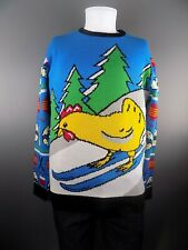 Men's Scandinavian Happy Easter Ski Chicken Jumper Sweater Black Blue M L