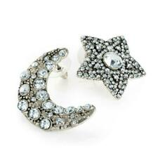 Ladies Silver Crystal Moon & Star earrings