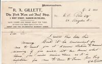 R.A. GILLETT, Ham + Beef Shop, 1911 Harrow-on-the-Hill Visit Memorandum Rf 46339