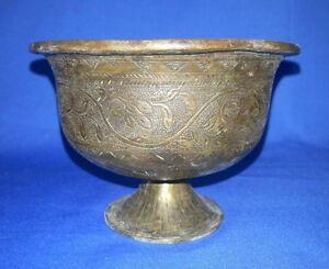 1849'c Antique Brass Hand Engraved Beautiful Shape Royal Spiting Bowls Pot