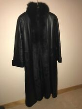 LONG GENUINE LEATHER COAT WITH DYED FOX EXTENDED COLLAR, BLACK PERFECT CONDITION