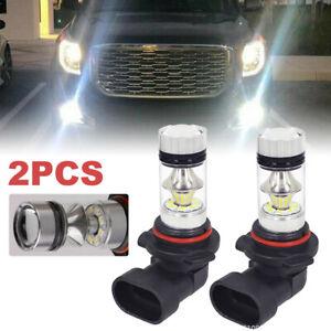 2X 9140 9145 H10 HB3 9005 LED 100W 6000K White Driving DRL Fog Light Bulbs