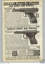 1940 PAPER AD Haenel Super Air Gun Pistol BB Gun Darts Hamilton Stevens