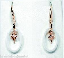 OVAL RING WHITE CERAMIC ROSE GOLD ON 925 SILVER HAWAIIAN PALM TREE HOOK EARRINGS