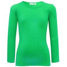 Niña Liso Top De Manga Larga Infantil camiseta lisa Verde 2 3 4 5 6 7 8 9