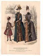 1880 Original Magazin des Demoiselles bustle Autumn toilettes with cape & child