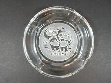 VINTAGE VIVA MEXICO COZUMEL DRUNK MEXICANS CLEAR GLASS ASHTRAY DECOR BAR