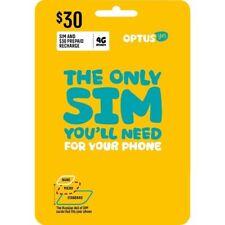 AUSTRALIAN OPTUS PREPAID MOBILE SIM CARD $30 PACK 3G 4G LTE REGULAR MICRO NANO
