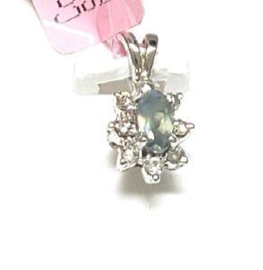 Natural oval Alexandrite .25tcw Diamond .07tcw 14k white gold halo pendant NWOT