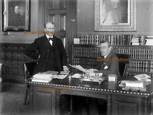 1910s President Woodrow Wilson Seated @ Desk Glass Photo Camera Negative #5 BB